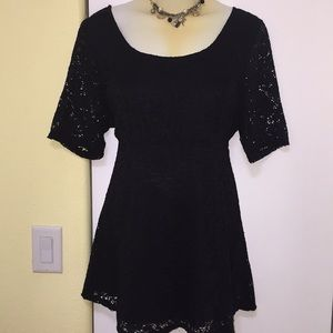 Motherhood Maternity Peplum black lace blouse